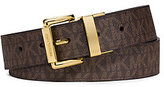 Michael Kors Reversible Logo And Embossed-Leather Belt