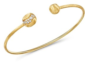 Marco Bicego 18K Yellow Gold Africa Pave Diamond Delicate Kissing Bangle