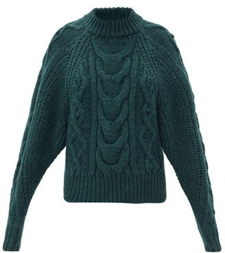 Isabel Marant Flover Cable-knit Wool-blend Sweater - Dark Green