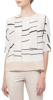 Akris Boat-Neck Broken-Stripes Silk Tunic Blouse