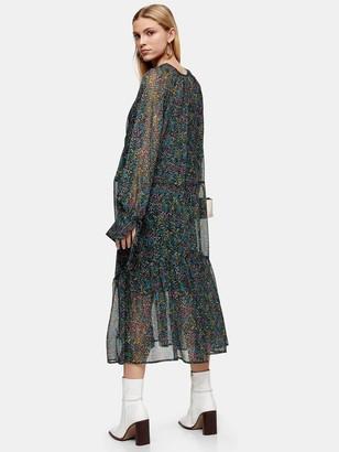Topshop Petite Ditsy Chuckon Midi Dress - Multi