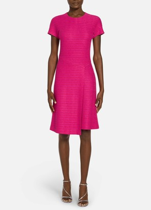 St. John Camellia Novelty Textured Knit Faux Wrap Dress