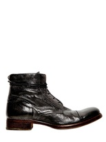Moma Vintage Brushed Leather Lace-Up Boots