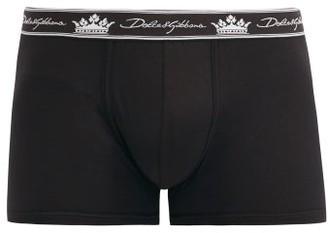 Dolce & Gabbana Logo-jacquard Cotton-blend Jersey Boxer Briefs - Black