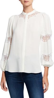 Kobi Halperin Keli Button-Down Lace-Inset Silk Blouse