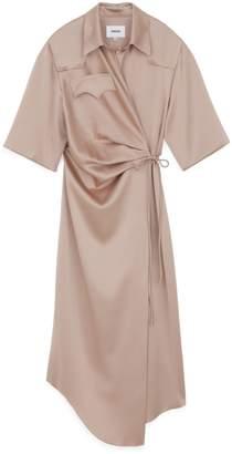 Nanushka Draped Wrap Shirt Dress