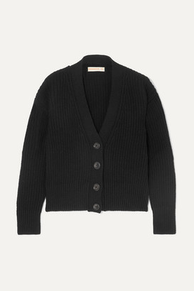&Daughter Brigid Cropped Ribbed Wool Cardigan - Black