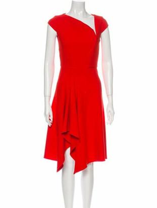 Roland Mouret V-Neck Knee-Length Dress Orange