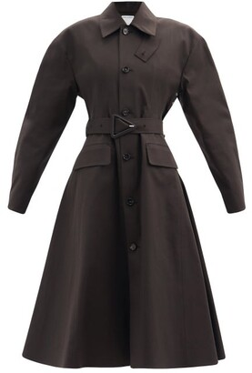 Bottega Veneta Flared-hem Waterproof Cotton-blend Trench Coat - Dark Brown