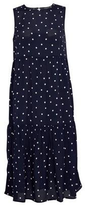 Dorothy Perkins Womens Blue Spot Print Sleeveless Tiered Midi Dress, Blue
