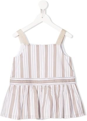 BRUNELLO CUCINELLI KIDS Square Neck Striped Pattern Silk Blouse