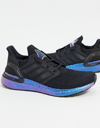 adidas Ultraboost 20 trainers in black & boost blue violet
