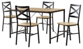 Walker Edison 5-Piece Angle Iron Wood Dining Set - Barnwood