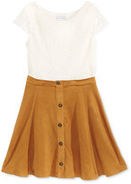 Sweet Heart Rose Crochet Faux-Suede Dress, Little Girls (2-6X)