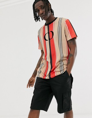 Criminal Damage oversized t-shirt in stripe with logo-Multi