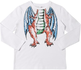 Stella McCartney Kids Dragon Print L/S Cotton Jersey T-Shirt
