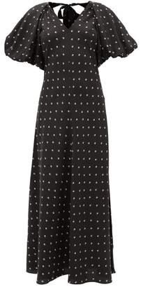 Lee Mathews - Roxie Puff-sleeve Floral-print Silk-satin Dress - Womens - Black Print