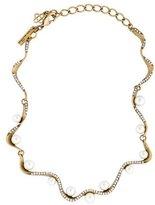 Oscar de la Renta Crystal Pavé Wave Faux Pearl Necklace