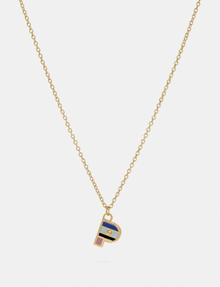 Coach 80'S Retro Alphabet P Charm Necklace