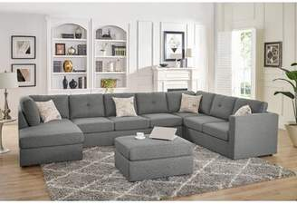 Bronx Ivy Lombardi Right Hand Facing Modular Sectional with Ottoman Ivy