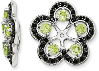 Curata Sterling Silver Peridot and Black Sapphire Earrings Jacket