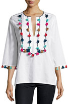 Figue Tassel-Embellished 3/4-Sleeve Top, White