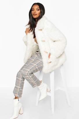 boohoo Premium Teddy Faux Fur Belted Longline Coat