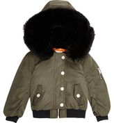 River Island Mini girls khaki hood padded bomber jacket