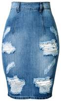 Yollmart Women's High Waist Hole Jean Skirts Pencil Skirt-44XXXL