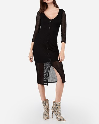 Express Ribbed Button Front Long Sleeve Midi Dress