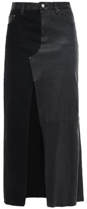 Amiri Paneled Leather And Denim Midi Skirt