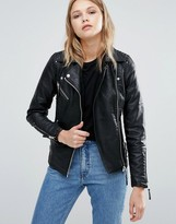 Warehouse Leather Look Biker Jacket