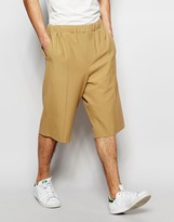 Asos Tailored Wide Leg Shorts With Pintuck In Camel