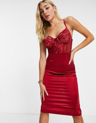 I SAW IT FIRST lace bustier bodycon midi dress in red