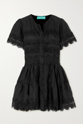Waimari Violetta Guipure Lace-trimmed Linen Mini Dress - Black