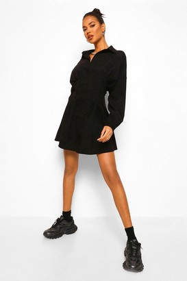 boohoo Cord Cinched Waist Lace Up Back Shirt Dress