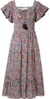 Tory Burch Smocked Floral-print Cotton Midi Dress - Blue