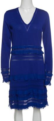 Roberto Cavalli Navy Blue Perforated Knit Ruffle Detail Long Sleeve Dress L