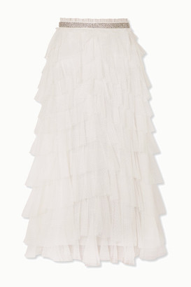 Needle & Thread Leilah Crystal-embellished Ruffled Tulle Midi Skirt - Ivory