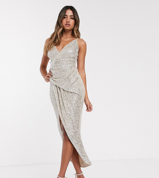 TFNC wrap front sequin maxi dress in silver