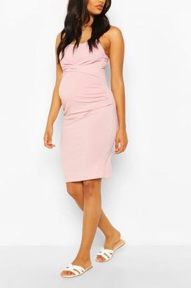 boohoo Maternity Scoop Neck Midi Dress