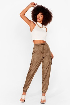 Nasty Gal Womens Cargo There High-Waisted Textured Pants - Khaki
