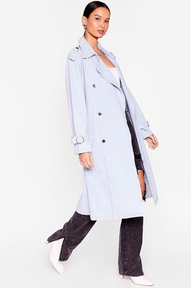 Nasty Gal Womens Long Time Comin' Denim Belted Trench Coat - Light Blue