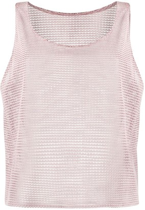 Forte Dei Marmi Couture Leather Mesh Vest Top