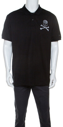 Philipp Plein Black Cotton Skull Detail Double Colors Polo T-Shirt 4XL