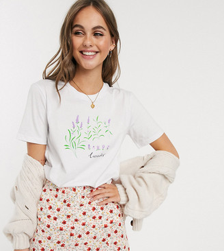 We Are Hairy People organic cotton t-shirt with hand painted lavender-White