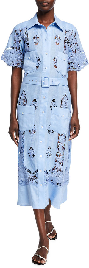 Miguelina Berly Linen Embroidered Shirt Dress
