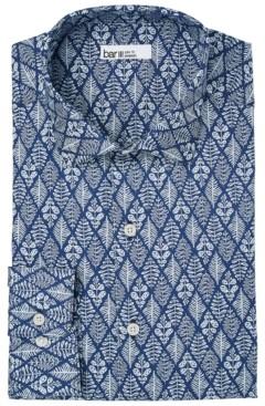 Bar III Men's Organic Cotton Slim-Fit Lattice-Leaf Dress Shirt, Gots Certified, Created for Macy's
