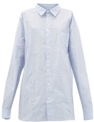 Vetements Striped Paper-poplin Shirt - Womens - Blue White