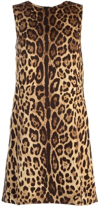 Dolce & Gabbana Sleeveless Leopard Printed Dress